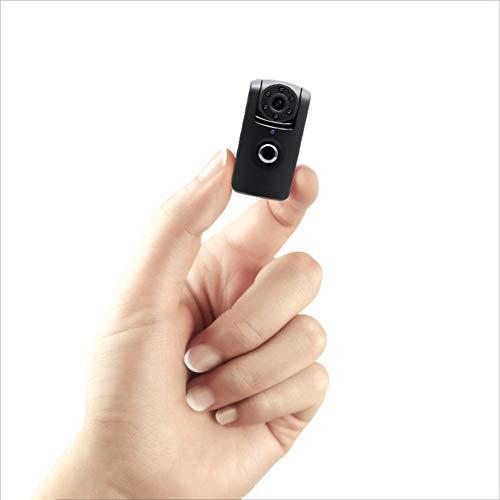 Registratore, fotocamera portatile da indossare, telecamera per la visione notturna nascosta e minuscola, videocamera per interni ed esterni compatta nera, piccola telecamera di sorveglianza domestica