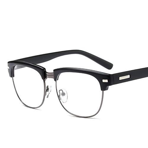 OuniaAAA Mode große Brillengestell Vintage Nieten Flache Gläser für Männer und Frauen (Farbe : Schwarz)