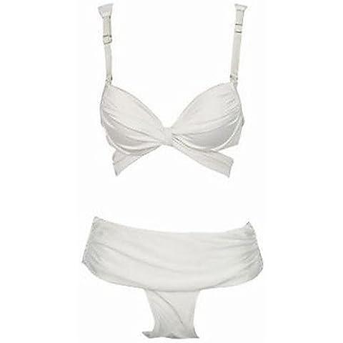 Mujer Bikinis–hochge schnitten/Monótono/vendaje de Push Up/B ¨ ¹ Gel sujetador de nailon/Elastano–Cabestro, white-m