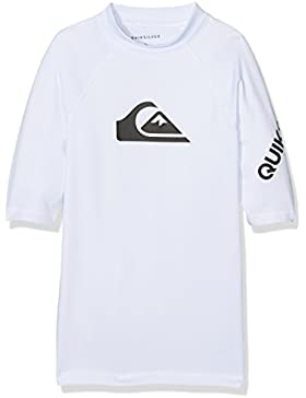 Quiksilver All Time Camiseta de Manga Corta con Protección Solar, Niños, Blanco, L/14