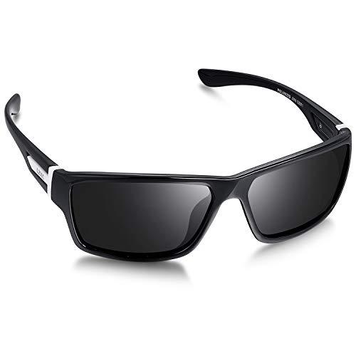 LZXC Herren Sport Polarized Sonnenbrille mit ultraleichtem Rahmen, UV400-Schutz zum Fahren, Radfahren (Schwarzer Rahmen Schwarze Linse)