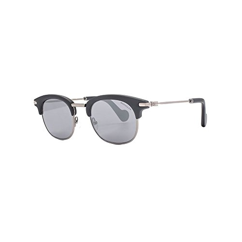 MONCLER Unisex Adults' ML0036 02C 49 Sunglasses, Black (Nero Opaco/Fumo Specchiato)
