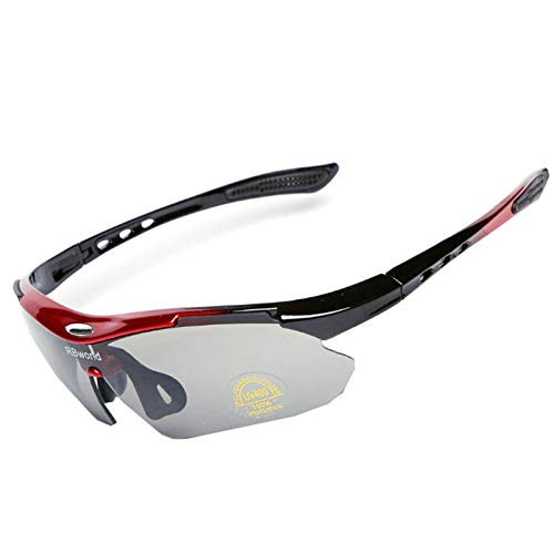 MaxAst Sportbrille Polarisiert Schnee Brille Herren Damen Unisex Schutzbrille Antibeschlag Rot Grau