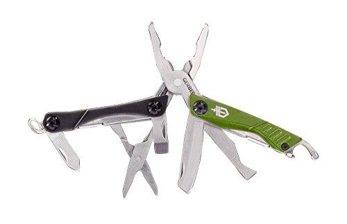 Gerber Mini-Tool, DIME, grau-grün, Zange, Stahl 3Cr13, Nagelreiniger, Paketöffner, Flachschraubendreher, Ring