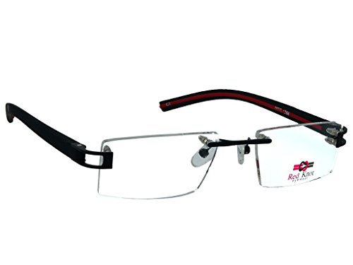 Red Knot Eyewear Red Knot Black Rimless Frame Unisex Spectacle Frame Mod 1208 1133