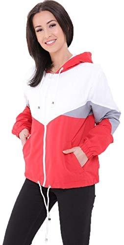 FLIRTY WARDROBE Damen Bomberjacke, Bomberjacke, kontrastierender Windbreaker, süße amerikanische Oversized Jacken Gr. XS, rot