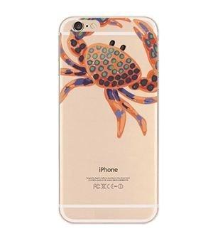 iPhone 8Plus/7Plus Kompatibel, Bunt, Gummi Flexible Silikon Tasche Bumper für Apple Transparent Cover-Orange Krabbe (Fisch Schalen Bulk)