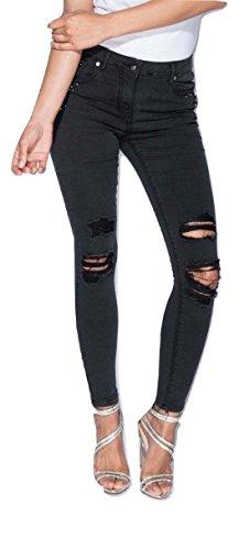 Momo&Ayat Fashions Ladies Diamante Trim Pocket Distressed Skinny Jean UK Size 6-14 (Black, UK 10 (EUR 38)) (Strass-pocket-jeans)