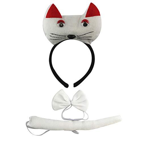 Kit Kostüm Kitty - Happyyami 3pcs Kinder Katze Stirnband Kit Party Halloween Party Kostüm Set mit Stirnband Fliege Schwanz Katzenohren für Kinder Mädchen Erwachsene(Weiß)