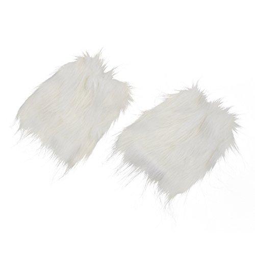 Timagebreze Weiss fluffies flaumig Beinlinge Stiefel abdeckt, begeisterte Furries (Stiefel White Furry)