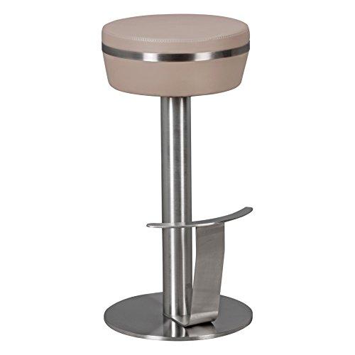 WOHNLING de M9 Durable | Tabouret avec structure en acier inoxydable d'argent | Tabouret design avec similicuir taupe | Chaise de bar contemporain avec repose-pieds | tabourets de comptoir siège est rotatif