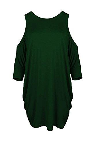 Janisramone Nouveau Femme Haut avec épaules nues manches courte Sexy Long Haut, épaules nues top haut évasée Bouteille Verte