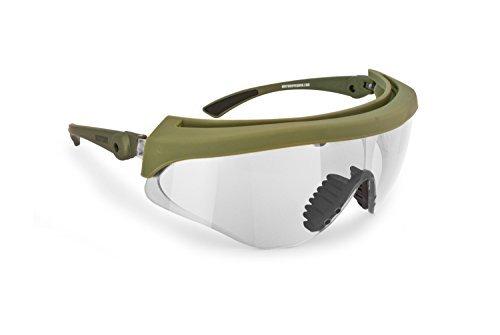Bertoni Gafas Protectoras Balisticas de Tiro Polígono Caza Softair - Lente 2.8mm Anti-Vaho - Inclinaciòn de la Lente Ajustable - AF869 Italy (Lente Clara)