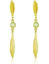 Córdoba Jewels | Pendientes en plata de Ley 925 bañado en oro. Diseño Volare Esmeralda Oro