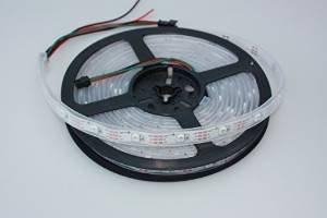 WS2812B-cordon lumineux 5 m en bande lED rVB 150 siliconschlauch, blanc, 10 et kuststoffschellen 20 vis