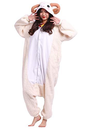 DATO Pyjama Tier Onesies Schaf Erwachsene Kigurumi Unisex Cospaly Nachtwäsche für Hohe 140-187CM