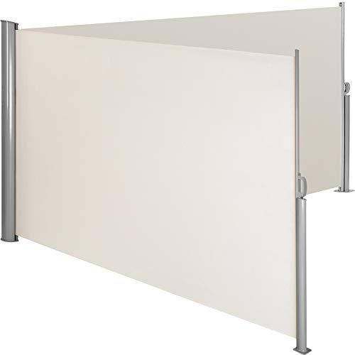 TecTake Doppel- Seitenmarkise Sonnenschutz Sichtschutz Gehäuse und Standpfosten komplett aus Aluminium - Diverse Farben und Größen - (Beige | 200x600cm | Nr. 402339)