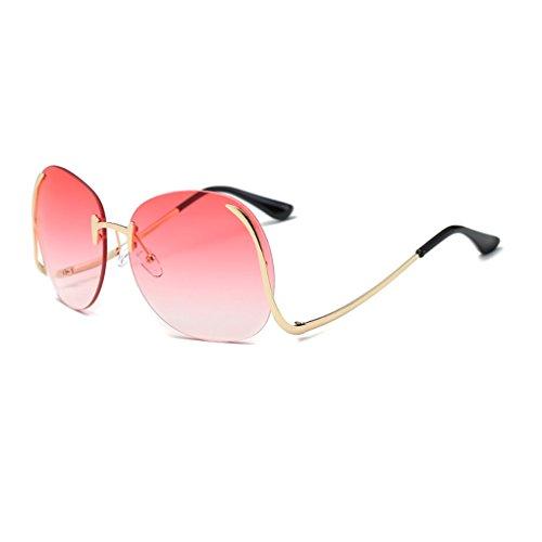 paciffico Unisex Erwachsene Fashion Oversize Aviator Sonnenbrille Metall Rahmen Spiegel Rahmenlose Brille PC Linse Gläser UV400 Einheitsgröße Gradual Pink