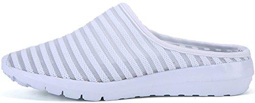 Eagsouni Femme Sandales Mule Sabots Décontracté à Enfiler Été Chaussures de Marche Blanc