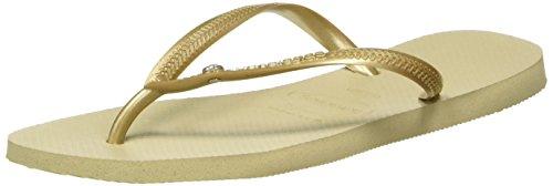 Havaianas Women's Slim Crystal Glamour Swarovski Flat Flip Flop - Black, Sand Grey/Light Golden UK 8 - Bh 41/42 Weißer