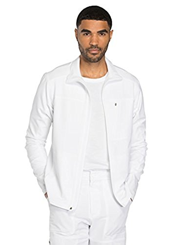 Dynamix By Dickies Men's Zip Front Warm-Up Solid Scrub Jacket Medium White (Dickies Zip Scrubs)