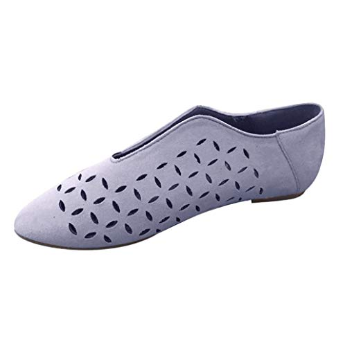 Damen Sommer Mode Hohl Mokassins Frauen Pointed Toe Flach Einfarbig Loafer Slipper Schuhe Zehenschuhe Bequeme Ballerinas Arbeitsschuhe Gr.35-43 TWBB
