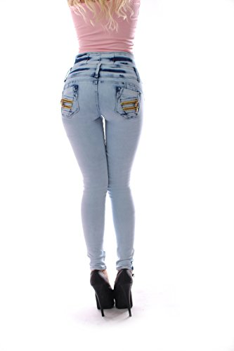 ZARINA®1662 Pantaloni jeans donne , push up / Derriere, pantaloni elastici colombiani, di colore blu chiaro, formato 34-48 / XS-3XL Blu