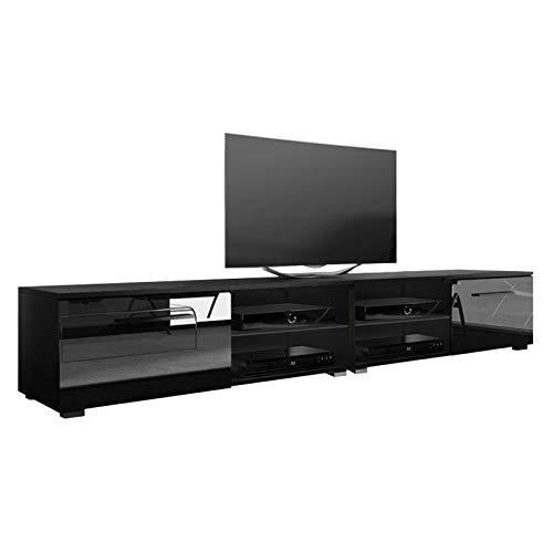 Tenus Double - Meuble TV/Banc TV (200 cm, Noir Mat/Noir Brillant)