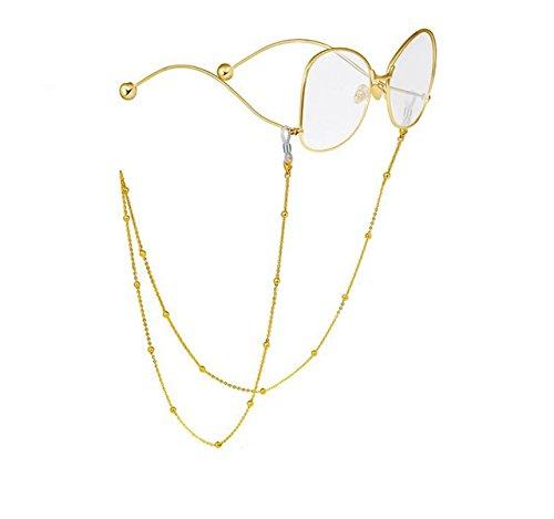 Tukistore Brillen Halskette Kette,Tukistore Edelstahl Perlen Brillen Sonnenbrillen Halter Cord Strap Brillen Lanyard Retainer Strap