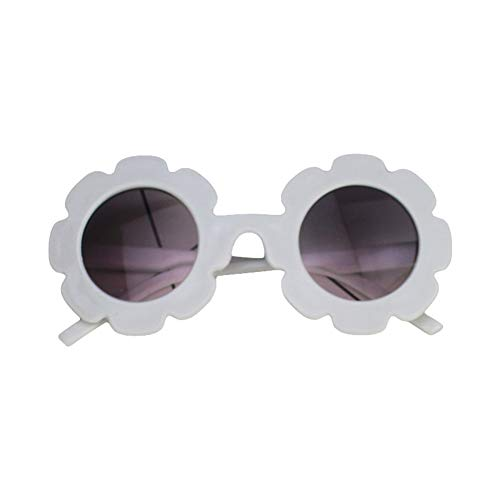 Eghunooye Süße Kinder Blumen Rundes Sonnenbrille UV400,Urlaub Strand Party Fotografie Sonnenschutz Brillen Sonnenbrille Geschenk für Junge Mädchen (Weiß, 0-8 Jahre)