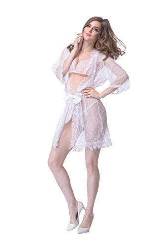 opdamyi Da donna Camicia da notte con cinghie di pizzo ultra-sottili bianche pure Bianco
