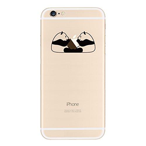 Coque iPhone 6 Plus / iPhone 6S Plus, Yokata Case Transparente Motif Design Housse Kawaii Cartoon Étui Clair Soft Doux TPU Silicone Flexible Backcover Ultra Mince Crystal Coque + 1*Stylet - Crâne Panda Twins