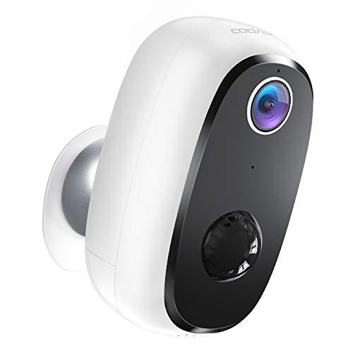 COOAU Wiederaufladbare Batterie Outdoor Überwachungskamera, 1080P HD Kabellose WiFi AKKU Kamera, IP65 Wasserdicht, Nachtsicht, Bewegungserkennung, 2 Wege Audio, SD Karte/Cloud Speicher