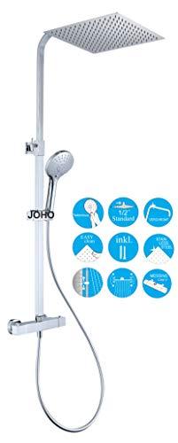 JOHO Thermostat DuschsetDuschsystem Brausesetthermostat Regenduschset Duscharmatur mit 304 Edelstahl Kopfbrause Handbrause (Thermostat eckig 30x30cm)