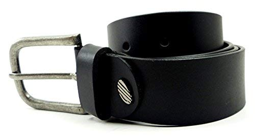 Evil Wear Django Ceinture en cuir Jeans Ceinture en cuir véritable ceinture en cuir de buffle Noir - Noir - Large