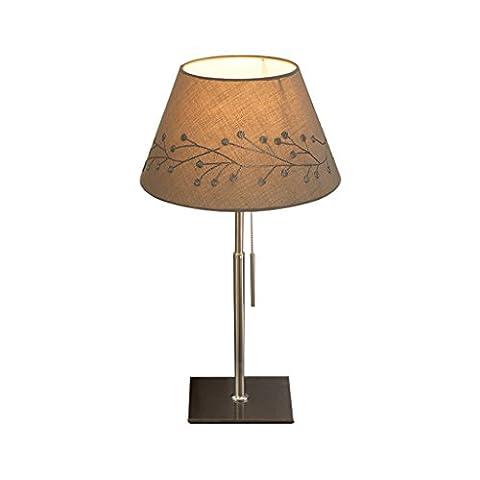 wshfor Nordic-Stil Tischlampe, Schlafzimmer Nachttischlampe, Wohnzimmer dekorative Lichter, Mode einfache kreative Studie Zimmer Schreibtisch Lampe E27 (braun) Stickerei Tuch Lampenschirm