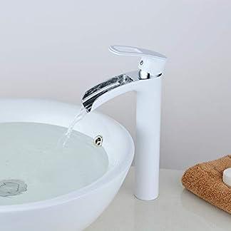 Grifo para baño Acabado en blanco Cascada Manija individual Cromado 1 orificio Montaje en lavabo alto Grifo de mezclador Leekayer, LK6683WH