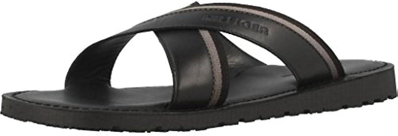 Tommy Hilfiger Sandale Leder Logo Detail Schwarz