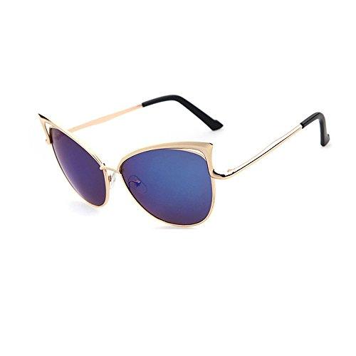 jgashf Neue Katze Brille Sonnenbrillen Mode Casual Trend Metallrahmen Spiegel Sonnenbrille Unisex-Farbfilm Katze Ohren Brille Outdoor-Sport Fahren (Blau)