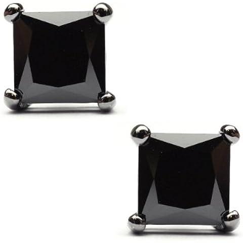 6mm quadrato orecchini a perno in strass ematite tono sst-he8