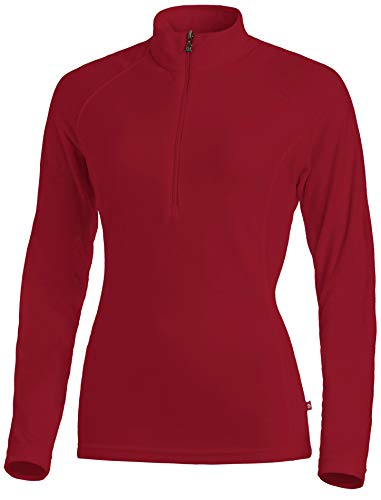Medico Damen Ski Shirt, 100% Polyester, Fleece, langarm, Reißverschluss (G61 Red, 44)
