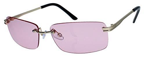 amashades Vintage Classics Schmale randlose Sonnenbrille Damen Herren Designer Stil Metallgestell RW78 (Gold/Rosa)