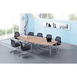 Konferenztisch mit Chromfüßen 280x130/78cm Nussbaum