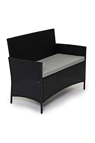 CosmoLiving Rattan Garden Furniture Set Patio Conservatory Indoor Outdoor 4 piece set table chair sofa (Black)