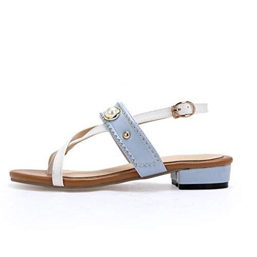 Damen Pumps Abiball Riemchensandaletten Pfennigabsatz New Comfort Sandals Beaded Rivet Gürtelschnalle Colorblock Pink Damenschuhe mit niedrigem AbsatzBlau, 34 -