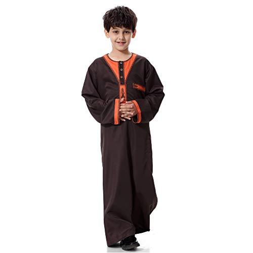 Scrolor Islamische muslimische Dubai Robe Traditionelle Bekleidung für Jungen Mans Langarm Solide Saudi Arabisch Kleidungsstück täglich tragen(Kaffee,S/40) (Arabische Kostüm Männliche)