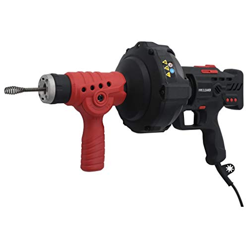 vidaXL Elektrisches Rohrreinigungsgerät mit großem Bohrkopf Spirale Abflussreiniger Rohrreiniger Rohrreinigung Rohrreinigungsmaschine 7,6m 260W