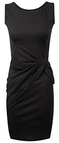 OUTOFGAS CLOTHING GRAND NŒUD PLISSÉ CASUAL POUR FEMME, ROBE DE FÊTE TAILLE 24 Noir - Noir