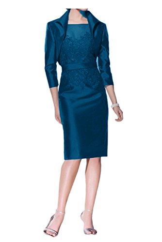 TOSKANA BRAUT Damen Neu 2017 Chiffon Rueckenfrei Falte Abendkleider mit Spitze Applikation Lang Ballkleider Brautmutterkleider Mini 179857