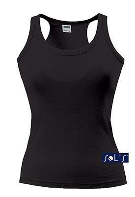 Damen Tank Top Coconut Racerback Vest. Ärmelloses T-Shirt in 12 Farben und den Grössen S, M, L und XL SCHWARZ,S (T-shirt Out-Ärmelloses)